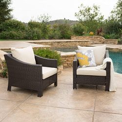 Caspian Outdoor Patio Furniture Multibrown Wicker Club Chair with Beige Water Resistant Fabric C ...