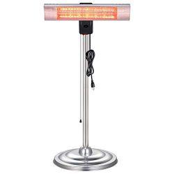 Xbeauty Infrared Patio Heater, Standing Indoor/Outdoor Garage Heater,Golden Tube for Instant War ...