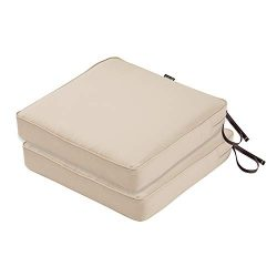 Classic Accessories Montlake FadeSafe Patio Seat Cushion, 2-Pack, Antique Beige, 19″W x 19 ...
