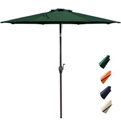RUBEDER 10′ Patio Umbrella Outdoor Market Table Umbrella with 8 Sturdy Ribs,Wing Vent,Push ...