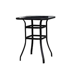 LOKATSE HOME Outdoor Bistro Bar Height Table Metal Frame Square Tempered Furniture Glass Top All ...
