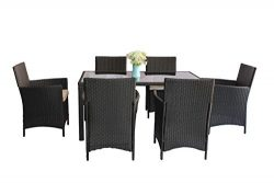 United Flame 7-Piece Indoor/Outdoor Patio Dining Sets Black Rattan Wicker Set Lawn Garden Backya ...