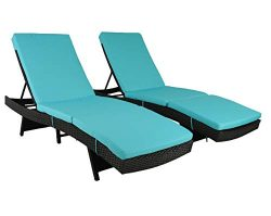 Patio Furniture Chair Set Outdoor Patio Lounger Black Rattan Wicker Pool Deck Chairs Adjustable  ...