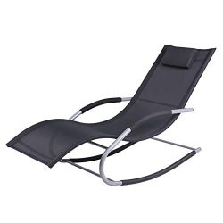 Outsunny Chaise Rocker Patio Lounge Chairs Swing Recliner Relaxer w/Pillow