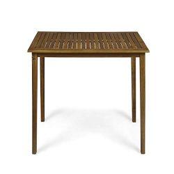 Great Deal Furniture Teresa Outdoor Minimalist Acacia Wood Rectangle Bar Table – Teak Finish