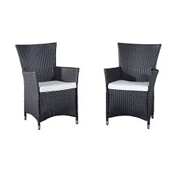 Outsunny 2 Piece Outdoor Patio Cushioned Rattan Wicker Dining Arm Chairs
