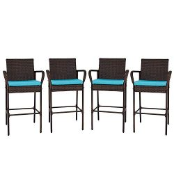 Kinbor Wicker Bar Stool Outdoor Backyard Rattan Chair Patio Furniture Chair with Cushions, Armre ...