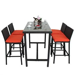 Leaptime Patio Bar Stools Furniture Dining Set Rattan 1 Table 4 Stools PE Wicker Bar Set Stools  ...
