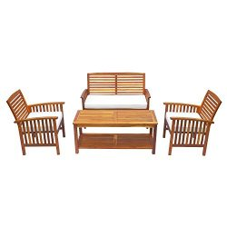 Outsunny 4 Piece Outdoor Acacia Wood Loveseat Coffee Table Lounger Conversation Set