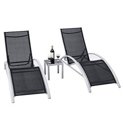 Giantex 3-Piece Chaise Lounge Set W/ 1 Small Table 2 Chairs Outdoor Iron Patio Garden Furniture  ...