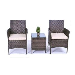 United Flame Cafe Sets 3 Pieces Outdoor Patio Furniture Sets Rattan Chair Wicker Set Backyard Po ...