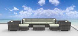UrbanFurnishing – FIJI 9pc Modern Outdoor Wicker Patio Furniture Modular Sofa Sectional Se ...