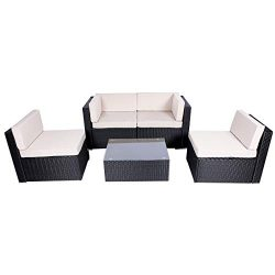 Esright 5 Pieces Patio PE Rattan Wicker Sofa Sectional Furniture (Black)