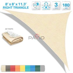 Patio Paradise 8′ x 8′ x 11.3′ Beige Sun Shade Sail Right Triangle Canopy, Per ...