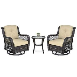Best Choice Products 3-Piece Patio Wicker Bistro Furniture Set w/ 2 Cushioned Swivel Rocking Cha ...