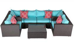 Do4U Patio Sofa 7-Piece Set Outdoor Furniture Sectional All-Weather Wicker Rattan Sofa Turquoise ...