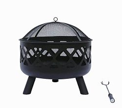 Lizh Metalwork 24-Inch Black Crossweave Fire Pit Patio Backyard Outdoor Garden Stove Firepit Bowl