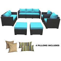 Rattaner Patio Wicker Sofa Set-6 Piece Outdoor PE Rattan Garden Sectional Conversation Cushioned ...