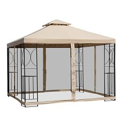 Outsunny 10′ x 10' Steel Fabric Square Outdoor Gazebo with Mosquito Netting – Sand
