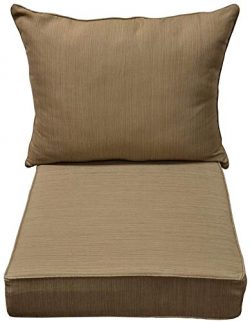 allen + roth Natural Wheat Deep Seat Patio Chair Cushion