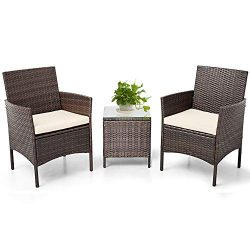SUNCROWN Outdoor Bistro Set 3 Piece Brown Wicker Chairs with Glass Top Table All-Weather Wicker  ...
