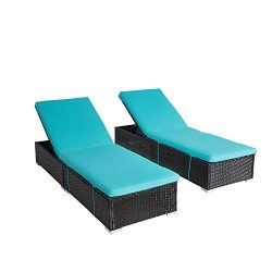 Kinbor 2-Pieces All-Weather Adjustable Outdoor Patio Lounge Chairs Furniture PE Wicker Chaise Lo ...
