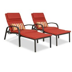 Patio Tree Outdoor Chaise Lounge Pool Wicker Chair W/Cushion Patio Rattan Lounger Furniture (Set ...