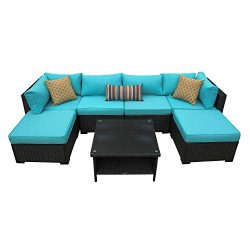Outdoor Patio Rattan Wicker Sofa 7 Piece Sectional Conversation Furniture Set Black/Turquoise