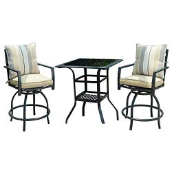 LOKATSE HOME 3 Piece Bistro Set Outdoor Bar Height Swivel with 2 Patio Chairs and 1 Glass Top Ta ...