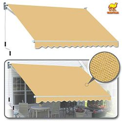 Strong Camel Manual Patio Awning Deck Retractable Canopy Sun Shade Shelter 12′ x 8′  ...