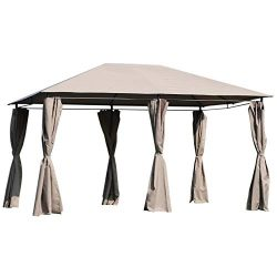 Outsunny 13′ x 10′ Steel Outdoor Patio Gazebo Pavilion Canopy Tent with Curtains  ...