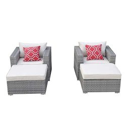 Do4U 4 Pieces Outdoor Patio Furniture Sectional Conversation Set, All-Weather Wicker Rattan Sofa ...