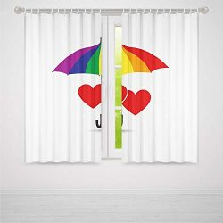 YOLIYANA Pride Decorations Small Window Blackout Curtains,Cute Heart Signs Over Rainbow Umbrella ...