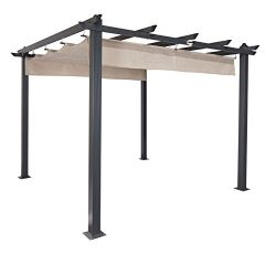Coolaroo Aurora Pergola, Backyard or Patio Shade Pergola, Light Filtering 90% UV Block, (9&#8217 ...