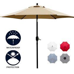 Sunnyglade 7.5′ Patio Umbrella Outdoor Table Market Umbrella with Push Button Tilt/Crank,  ...