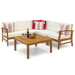 Best Choice Products 6-Piece Acacia Wood L-Shape Sectional Sofa Set Furniture W Water Resistant  ...