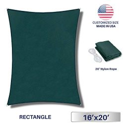 Windscreen4less 16′ x 20′ Sun Shade Sail Rectangle Canopy in Green with Commercial G ...