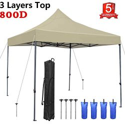 Tentking Canopy Tent 10 x 10 ft Beige, Commercial Instant Shelter Market Stall Ez Pop-Up Canopy  ...