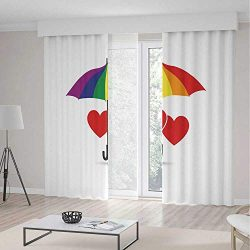 ALUONI Bedroom Curtains,Pride Decorations,for Living Room,Cute Heart Signs Over Rainbow Umbrella ...