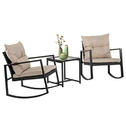 BestMassage 3 Pieces Outdoor Rocking Chair Bistro Set Conversation Wicker Sofa Garden Backyard B ...
