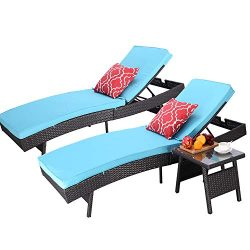 Do4U Adjustable Patio Outdoor Furniture Rattan Wicker Chaise Lounge Chair Sofa Couch Bed with Tu ...