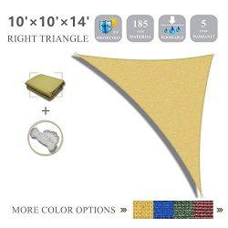 10'x10'x14′ Sun Shade Sail Right Triangle Sail Shade Canopy for Patio Garden O ...
