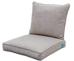 QILLOWAY Outdoor Chair Cushion Set,Outdoor Cushions for Patio Furniture.Tan/Grey