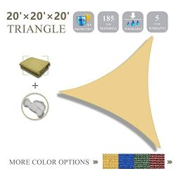 20'x20'x20'Sun Shade Sail Triangle Sail Shade Canopy for Patio Garden Outdoor  ...