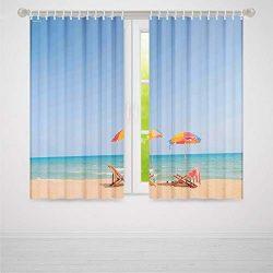 C COABALLA Blackout Curtains,Seaside Decor,Living Room Bedroom Décor,Beach Chair Umbrella on Bea ...