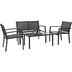 Devoko 4 Pieces Patio Furniture Set Outdoor Garden Patio Conversation Sets Poolside Lawn Chairs  ...