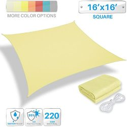 Patio Paradise 16′ x 16′ Waterproof Sun Shade Sail-Canary Yellow Rectangle UV Block  ...