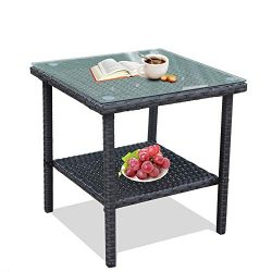 LEAPTIME Patio Side Table Coffee Table Tea Table Charcoal Rattan Outdoor Indoor Square Table Bal ...