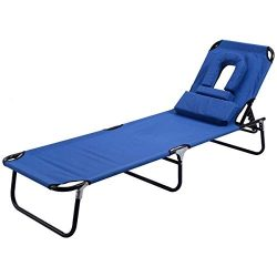 Goplus Folding Chaise Lounge Chair Reclining Adjustable Outdoor Patio Beach Camping Recliner w/H ...