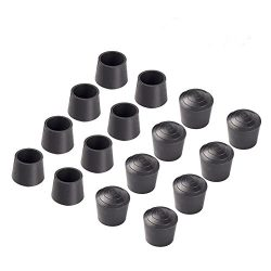 Bestsupplier Chair Leg Tips Caps 7/8 inch Rubber Table Chair Leg Caps Anti ,16 PCS , Black